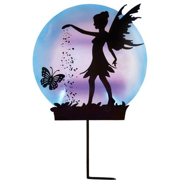 Collections Etc Solar Fairy Silhouette Garden Decor Yard Stake, Black