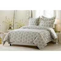 6pc Beige Hexagon Design Bedding Set-Includes Comforter and Duvet Cover