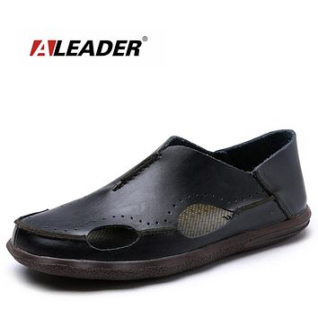 Aleader New Spring Luxury Leather Sandals Men Beach Shoes 2017 Casual Genuine Leather Loafers For Men Moccasins Flat Sandals