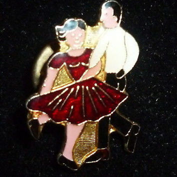 Square Dancing Couple Dancers Pin