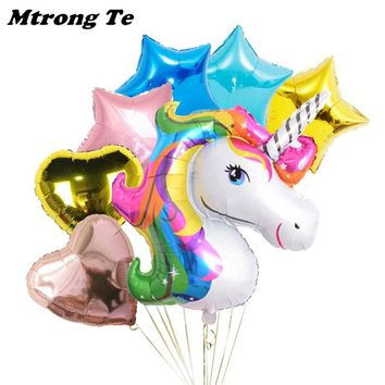 7pcs Large Size Rainbow Unicorn Inflatable Foil Balloons 18 inch star and heart globos Baby Shower Happy Birthday party Decor