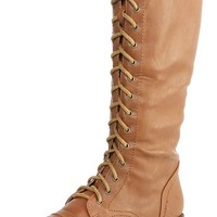 Jacobies Pisa17 Camel Laced Up Knee High Boots and Shop Boots at MakeMeChic.com