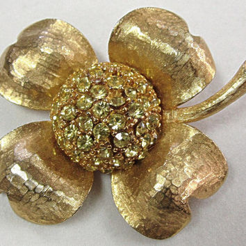 Hobe Flower Brooch Pin Pave Yellow Rhinestone Large