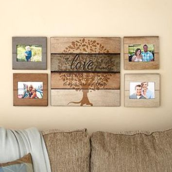 5 Pc Love Grows Family Tree Wall Plaque & Photo Display Set Hanging Home Decor