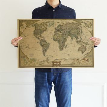 Nautical Ocean Sea World Map Kraft Paper Retro Old Art Paper Painting Home Decor Sticker Living Room Poster Cafe Antique Poster