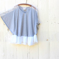 Gray romantic lace top , Upcycled Knit Blouse , Womens size Large bohemian shirt Handmade altered refashioned clothing by wearlovenow