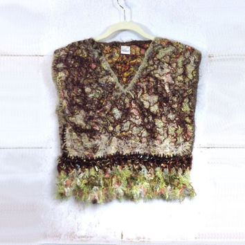 Felted Vest in Green Brown Earthy Mohair Wool with Crochet Edges