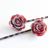 Bloody Flower Hair Pin, Goth Style, Halloween Accessory, Hair Clip, Light Grey Color, Zombie Hair Piece, Dead Flower, Bobby Pin