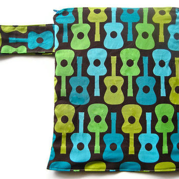 "Wet Bag guitar diaper cosmetic toiletry travel waterproof eco-friendly retro mod music teal lime ""Jimmy"""