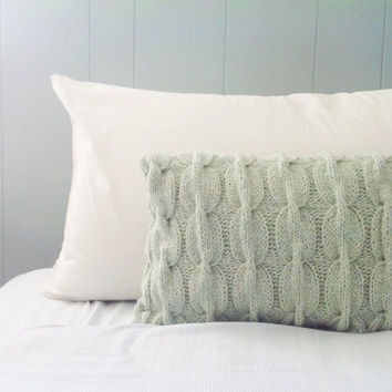 OOAK Eco-Friendly Mint Chain Link Cable Knit Wool Pillow Sham 16 x12