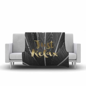 "Kristi Jackson ""Just Relax"" Gold Black Photography Fleece Throw Blanket"