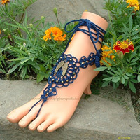 Navy Blue Barefoot Sandals Foot Jewelry Anklet Wing Foot Wear Beach Pool Barefoot Jewelry Barefoot Sandles Hippie Gypsy Crochet Sandals