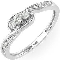 0.25 Carat (ctw) 10k White Gold Round Diamond Ladies 3 Stone Engagement Twisted Promise Bridal Ring 1/4 CT (Size 7)
