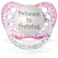 Personalized Pacifiers Princess in Training Pacifier in Glitter Pink