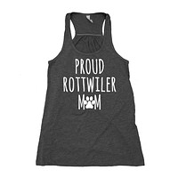Proud Rottweiler Mom Tank Top Puppy Dog Pet Women's Flowy Racerback Tank