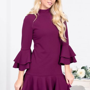The Jacque Plum Ruffle Dress