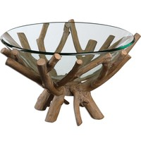 Thoro Decorative Glass Bowl with Rustic Wood Twig Base by Uttermost