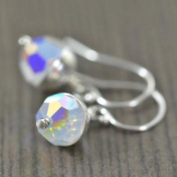 Birthstone earrings made of Swarovski crystals on sterling silver earwires