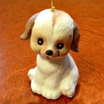 Vintage Puppy Dog Bell Porcelain L'il Chimer Jasco Figurine Collectible, Ceramic Spaniel Brown & White Animal Chime Statue, 70s Critter Bell