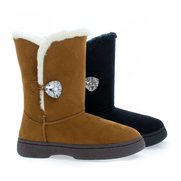 Olaf03K Black Children's Girl Crystal Button Ankle Faux Fur Winter Boots