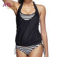 Plus Size Swimsuit 2017 Striped Swimwear Female Two Piece Bathing Suit Tankini Set Swimming Suit for Women Halter Two-Piece Suit