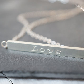 tiny silver bar necklace  delicate love gold bar necklace simple gold silver message necklace love letter necklace