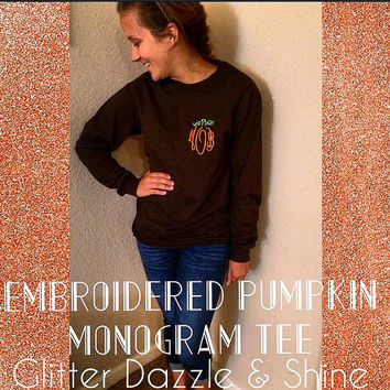 Monogram Pumpkin Tee (Embroidered)