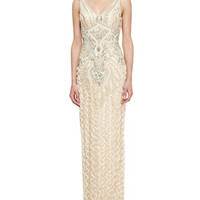 Sleeveless Ribbon Long Gown with Beading