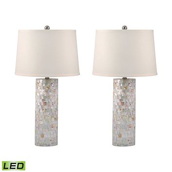 812/S2-LED Mother of Pearl Cylinder LED Table Lamp