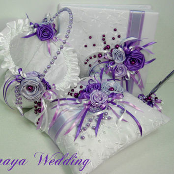 Wedding Guest Book, Flower Girl Basket and Ring Bearer Pillow Set in White Satin Embrodery , Purple Roses and Purple Pearls, Wedding Set