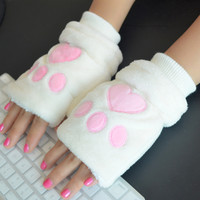 Kawaii Cat Fingerless Gloves