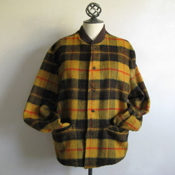 Vintage Deacon Brother 60s Jacket Walnut Brown Plaid Wool Blend 1960s Mens Button Down Jacket Medium