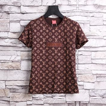 LOUIS VUITTON x SUPREME LV Red Box Logo/ Monogram T-Shirt - Brown