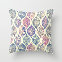 Patterned & Painted Floral Ogee in Vintage Tones Throw Pillow by Micklyn