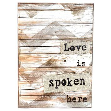 Chevron Faux Wood Love is Spoken Here Wall Sign | Hobby Lobby | 958330