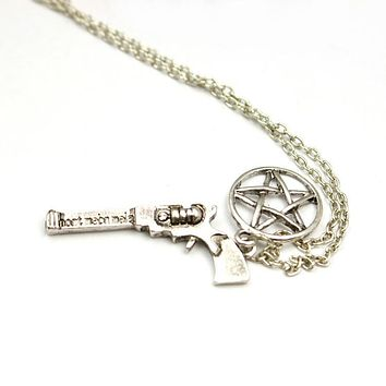 Supernatural dean pistol pentagram necklace factory direct sale