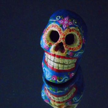 Day of the Dead Sugar Skull Calavera Hand Painted Decorative Clay Figurine