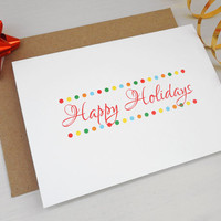 Happy holidays card Christmas greeting card dots elegant holiday greetings