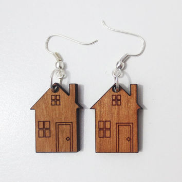 Cherry House Earrings Black Purple Yellow Wood Laser Cut Home Earrings Home Jewelry Architecture Building CELEBRATION SALE! Buy 1 Get 2 Free