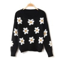 Women's Daisy Sunflower Pullover Jumper Kintwear Sweater Coat Free Necklace