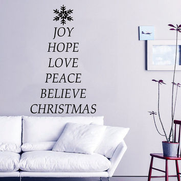 Happy New Year Wall Decal Christmas Tree Decal Joy Hope Love Sticker Merry Christmas Vinyl Letters Living Room Decor Design Interior KY85