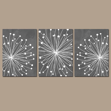 DANDELION Wall Art CANVAS or Prints Gray Charcoal Bedroom Pictures Bathroom Artwork Watercolor Wall Art Flower Dandelion Set of 3 Home Decor