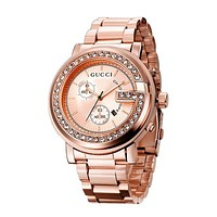 GUCCI Fashion Women Men Diamond Quartz Watches Business Wrist Watch Rose Gold I