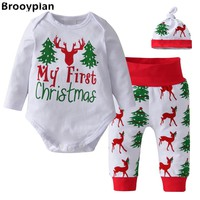 My First Christmas Baby Girls Boys Clothes 3pcs/Set Newborn Cotton Long Sleeve Xmas Tree and Deer Tops+Pants+Hat Infant Clothing