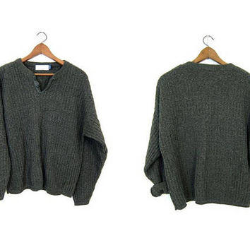 Oversized Dark Green Sweater Button Up Henley Sweater Slouchy Boyfriend Pullover Textured Cotton Knit Sweater Sweater Men's Large