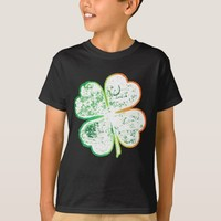 White, Orange and Green Grungy Four-Leaf Clover T-Shirt