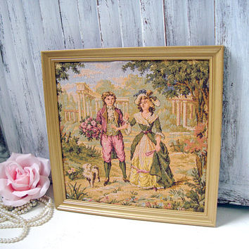 Vintage Framed Tapestry Art, French Art, Small Gold Picture Frame with Vintage Tapestry, Lady and Gentlemen Vintage Art French Cottage Decor