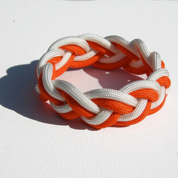 A Traditional Turks Head Sailor's Rope Bracelet - Double Braid, Orange and White, Your Choice Size