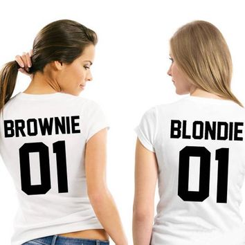 Sister T shirts matching Best Friends Cotton tshirts Women Girls brownie blondie 01 Letter Print T-shirts outfits Summer Top Tee
