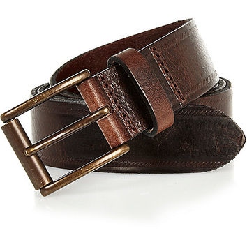 River Island MensDark brown leather embossed belt